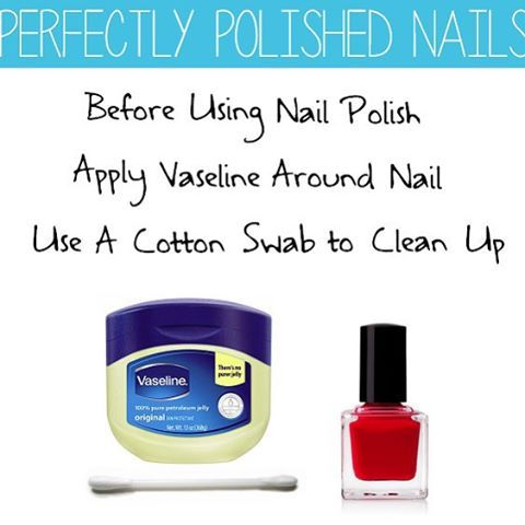 Use cotton swab to apply Vaseline on the finger around the nail before applying nail polish for perfectly polished nails every time!  Once you have painted your nails, just wipe off the Vaseline and you'll have perfectly polished nails without all the mess!