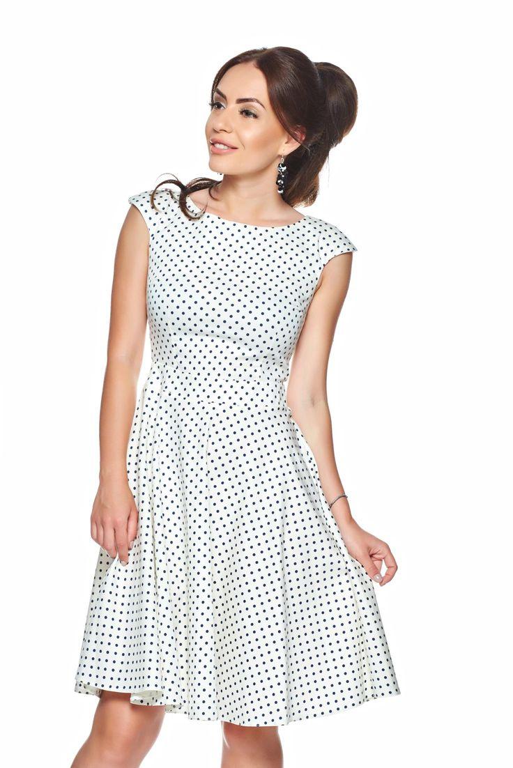 PrettyGirl Tender Love White Dress, sleeveless, back zipper fastening, elastic fabric