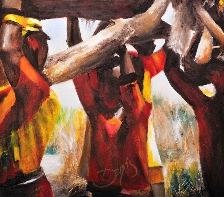 """Título: """"Cargadores"""" Técnica: Óleo sobre tela Medidas: 60 cm x 80 cm Autora: María Derás ©2010 Colección Particular: Cabo San Lucas, BCS, México."""