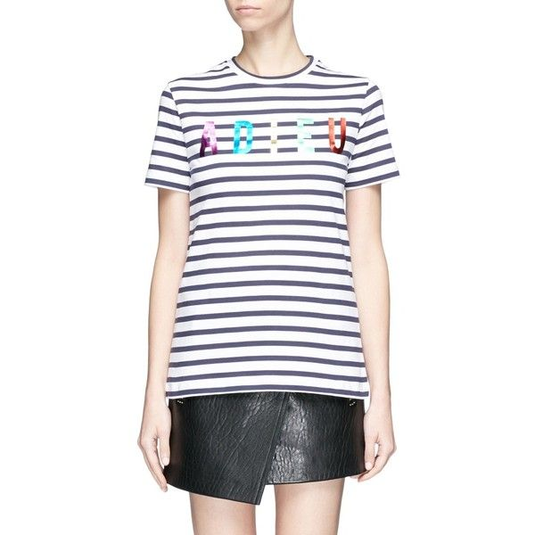 Etre Cecile 'Adieu' metallic foil print stripe T-shirt ($95) ❤ liked on Polyvore featuring tops, t-shirts, pattern tees, stripe t shirt, foil print t shirt, striped t shirt and stripe tee