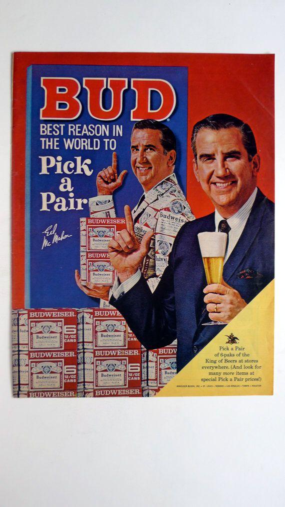 1967 LIFE Magazine Ed McMahon Budweiser Beer Ad - vintage magazine ad framable