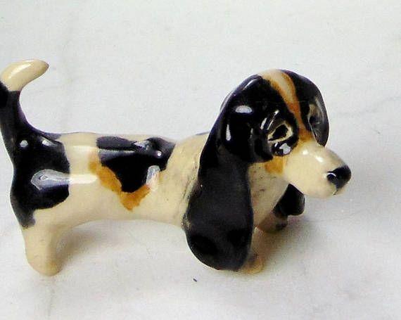 Basset Hound Terrarium Miniature  Dog Sculpture  Pottery