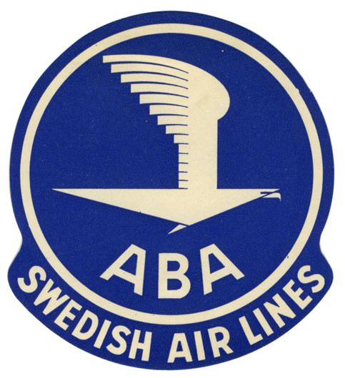 Artist Unknown Poster: ABA Swedish Airlines (Luggage Label)