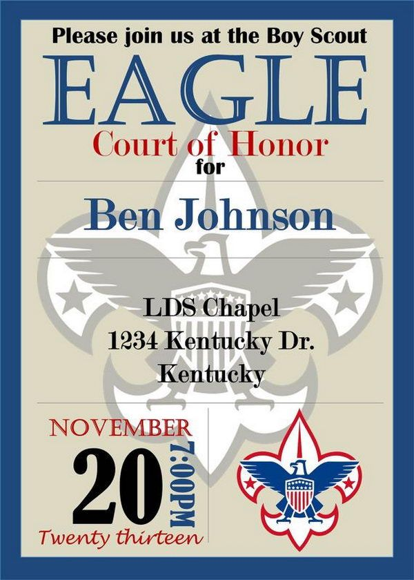 8 eagle scout court of honor invitation