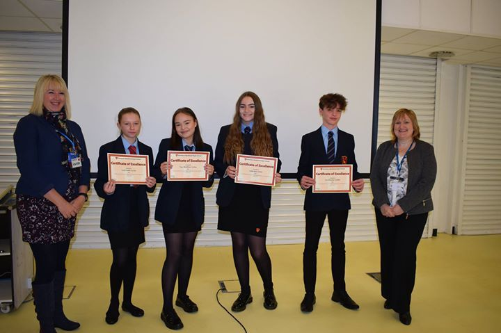 Dereham Neatherd High School Work Experience 2017 awards assembly. Today we welcomed Mrs Clare Fox Careers Facilitator with the NHS at NNUH and Mrs Jo Pedlow head teacher of Toftwood Junior and Infants to present the excellence certificates to those who got rave reviews by the work experience employers. We gave out over 70 certificates!