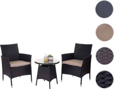 heute-wohnen Poly-Rattan-Garnitur HWC-A82, Balkon-Set Gartenmöbel