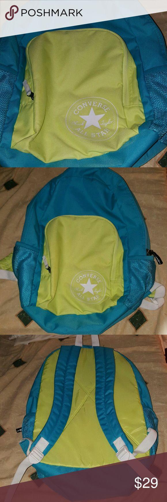 Converse All Star backpack bookbag EUC Converse All Star backpack bookbag turquoise blue with bright yellow Converse Bags Backpacks