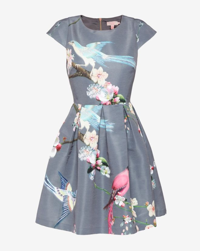 Flight of the Orient print dress - Light Grey | Dresses | Ted Baker UK