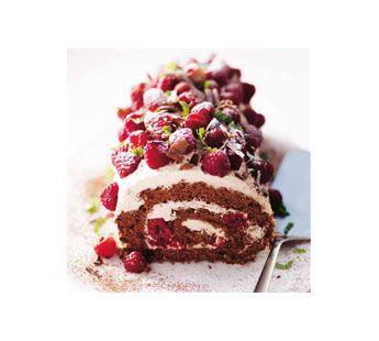 Recept - Chocolade-cappuccinorol met frambozen en chocoladekrullen - Zonnigfruit