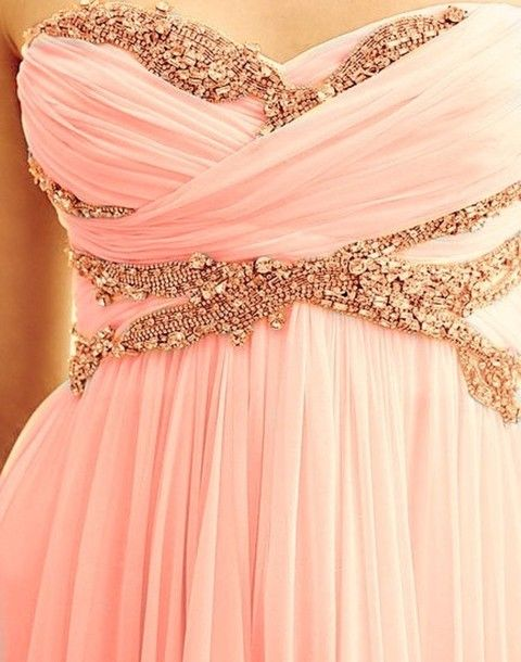 rose gold and pink chiffon bridesmaid dress