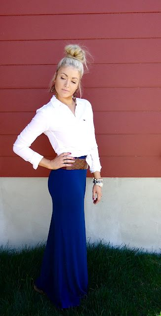 Maxi, white button up, brown belt and bun. LOVE this look