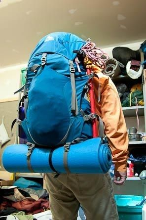 HOW TO FIT A WEEKS GEAR INTO A WEEKEND PACK. (Make it All Fit) Light items like clothing and pads go on the pack front.
