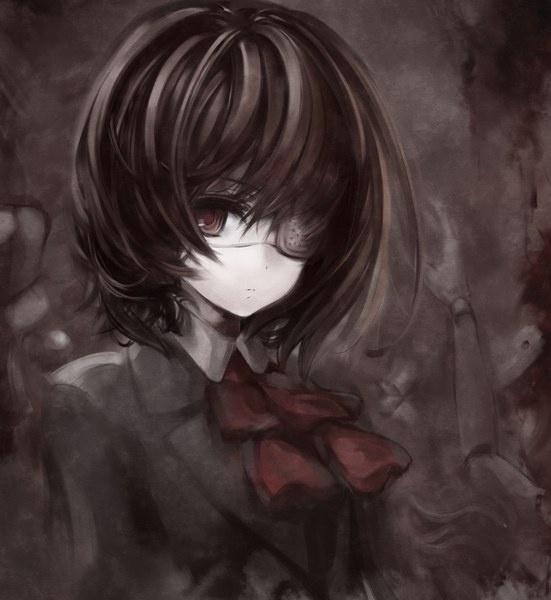 イラスト  1269x1382 with   ephtracy  another  misaki mei  girl  short hair  solo  black hair  red eyes  tall image  school uniform  eyepatch  doll (dolls)