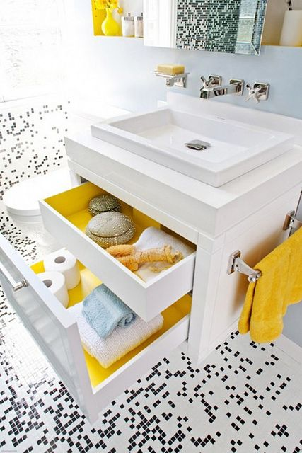 Color adds a nice pop to the bathroom...Color in drawers - love it. I want to paint the inside of my pantry too