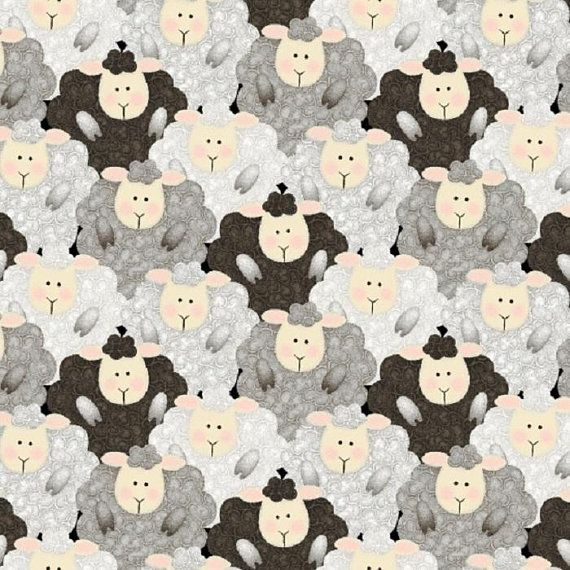 Baby Lambs Blue Cute Children/'s Nursery Animals Sheep Print 100/% Cotton Fabric