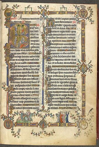 This page shows the first psalm from the Breviary of Renaud de Bar (d.1316), Bishop of Metz and a patron of a series of sumptuous liturgical...http://www.bl.uk/catalogues/illuminatedmanuscripts
