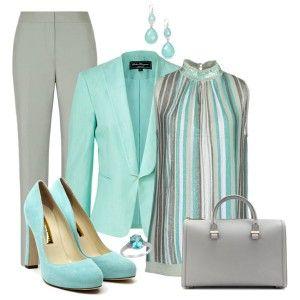 Голубые туфли, серые брюки, серо-голубая туника, голубой пиджак, серая сумка