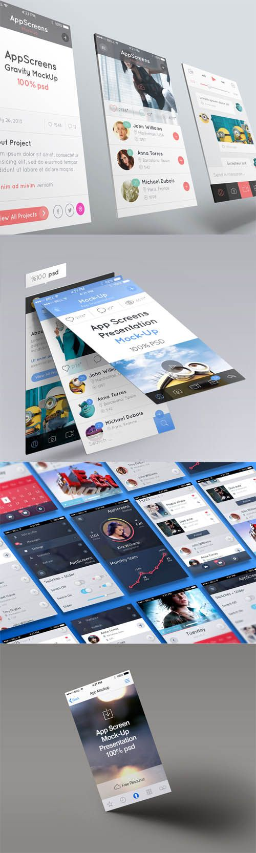 4 App Screen Presentation Mock-up Templates