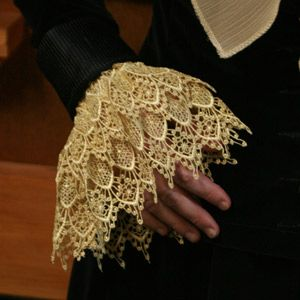 Lace Cuffs made of two layers of antique Venetian lace.