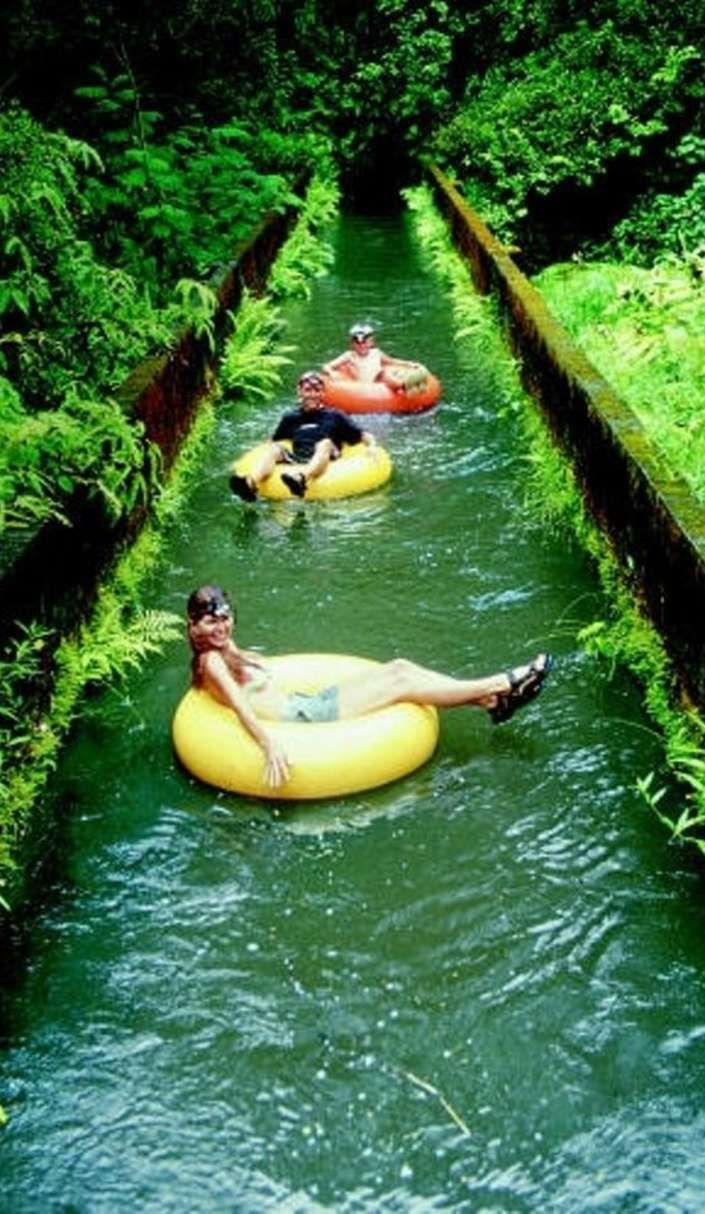 Floating on a tube at a sugar plantation might be the sweetest thing ever! Lihue Plantation, Kauai, Hawaii.