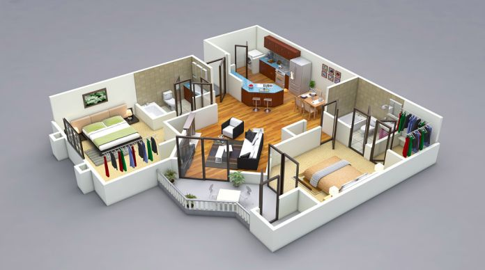 Classic 3D Floor Plan Visualization Residential 3d, House and Room
