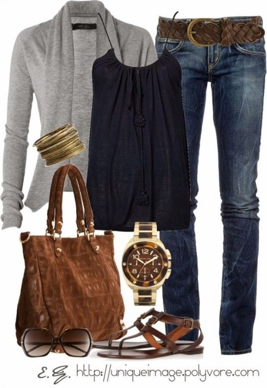 2014 winter fashion for women and girls:Grey long sweater, black blouse, jeans bracelet, hand bag and wrist watch for ladies