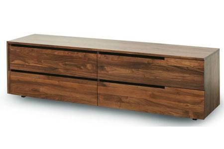 Four drawer walnut cabinet.