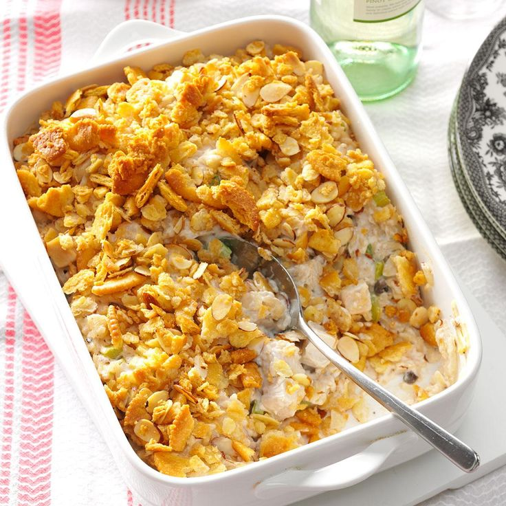 Crunchy Almond Turkey Casserole Recipe -A special cousin shared the recipe for this comforting casserole. The almonds and water chestnuts give it a nice crunch. —Jill Black, Troy, Ontario