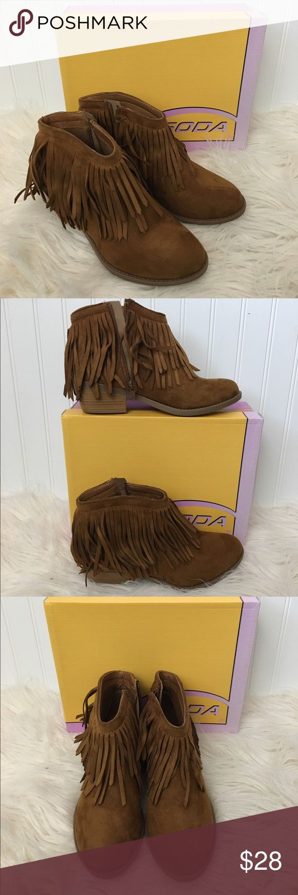 "Soda Fringe Ankle Boots Sz 9 Brand new, never worn. Purchased from the Red Dress Boutique. Faux suede. Fringe detail, side zipper. Slight heel (approx 1- 1.5""). Soda Shoes Ankle Boots & Booties"