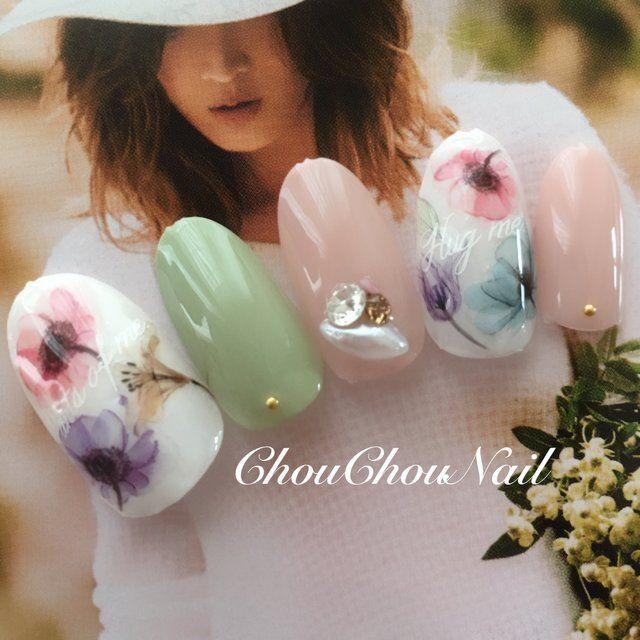 春よこい♡ インスタやってます→chouchounail.kayo #春 #デート #入学式 #ハンド #フラワー #ミディアム #アースカラー #ジェルネイル #ネイルチップ #ChouChou シュシュ #ネイルブック