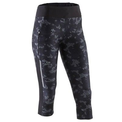 Corsaire jogging femme run dry+ camo noir kalenji  a5d84b09829