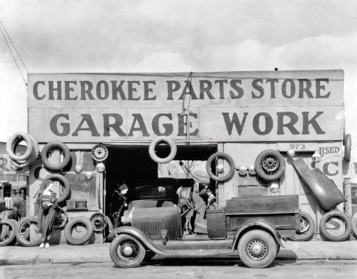 "March 1936. ""Auto parts shop. Atlanta, Georgia."" Large-format nitrate negative by Walker Evans for the Farm Security Administration"