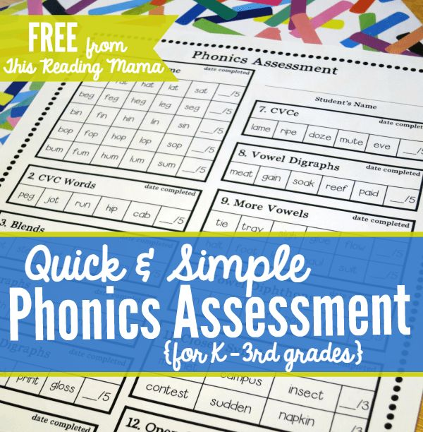 FREE Phonics Assessment for K-3 from This Reading Mama