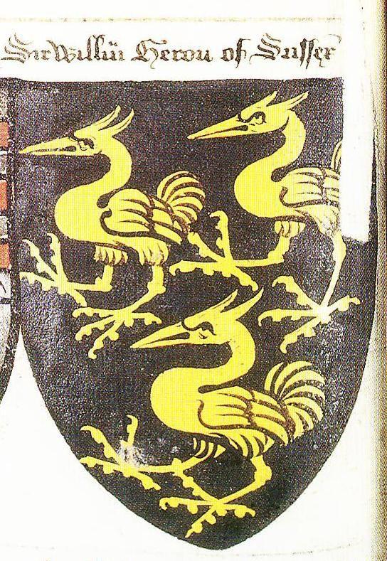"""Writhe's Book, c.1480, as exerpted in Peter Gwynn-Jones, """" - http://www.sofyalarus.info/heraldicart/HeronSussex.jpg"""