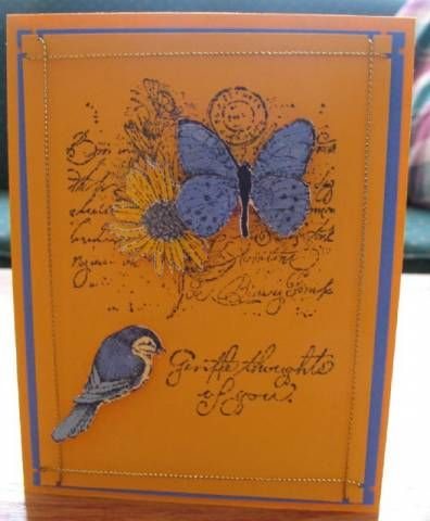 Stamps: Garden Collage Paper: summer sun, ballet blue, usw Ink: ballet blue, bb, summer sun, bliss blue Accessories: gold cord, dimensional dots, southwestern punch