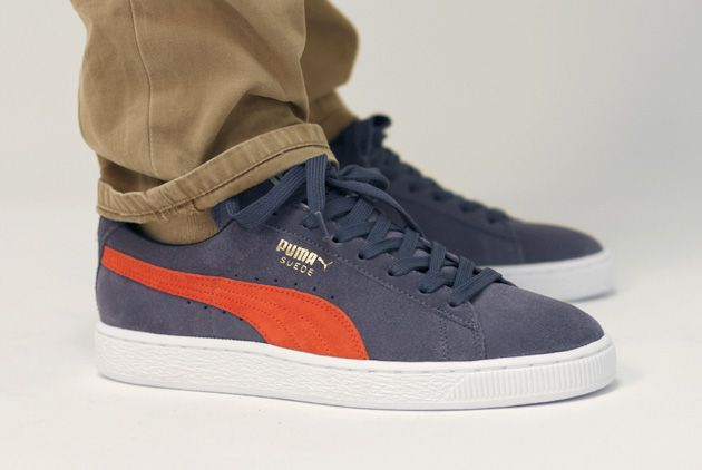 best sneakers b47da b7426 puma suede orange blue