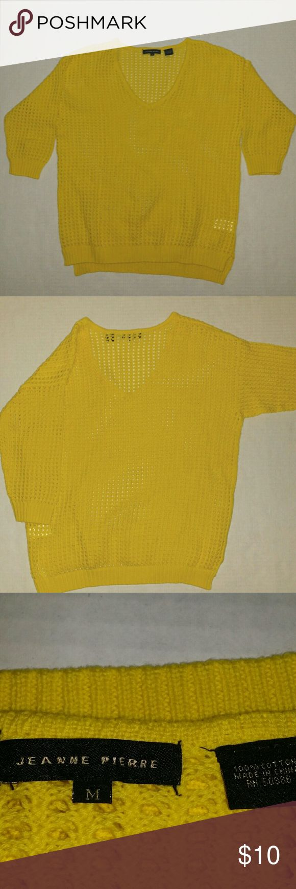 Jeanne Pierre yellow crochet top Soft 100% cotton. Can be used over swim top for a day at the beach. Casual and fun. Yellow tones are on trend right now. Jeanne Pierre  Swim Coverups