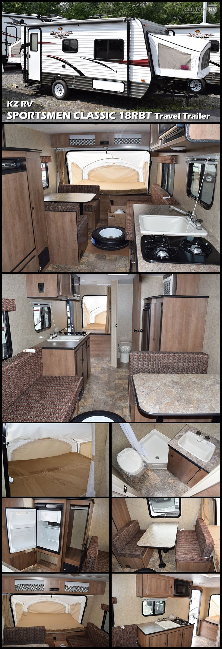 2017 KZ RV SPORTSMEN CLASSIC 18RBT ultra lightweight travel trailer features expandable foldout bunkends, which offer the ambience of tent camping with the security of solid walls and locking doors. Expandables provide additional living and sleeping space without adding towing length and weight. Sportsmen Classic provides all the amenities of home in a lightweight, easy to tow package.