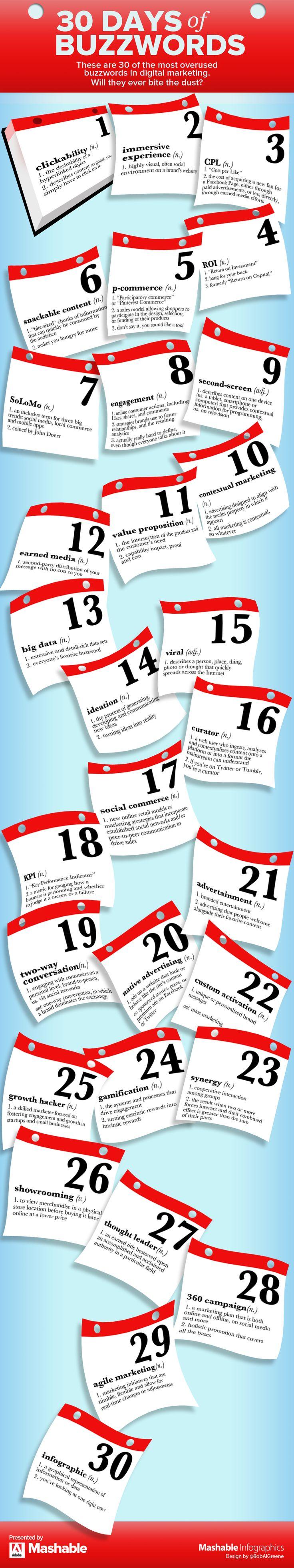 30 Overused Buzzwords in Digital Marketing from Mashable. #infographic #socialmedia #marketing