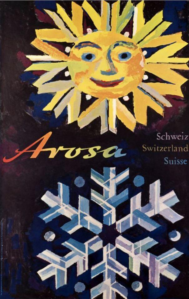 Travel Poster by Wolfgang Hausamann, ca. 1960, Arosa, Schweiz, Switzerland, Suisse,