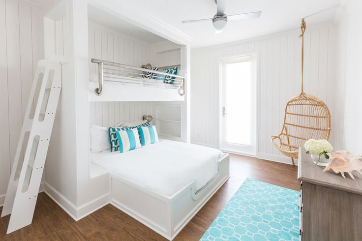 4 (3)beach-house-bunk-beds-white-hanging-chair-turquoise