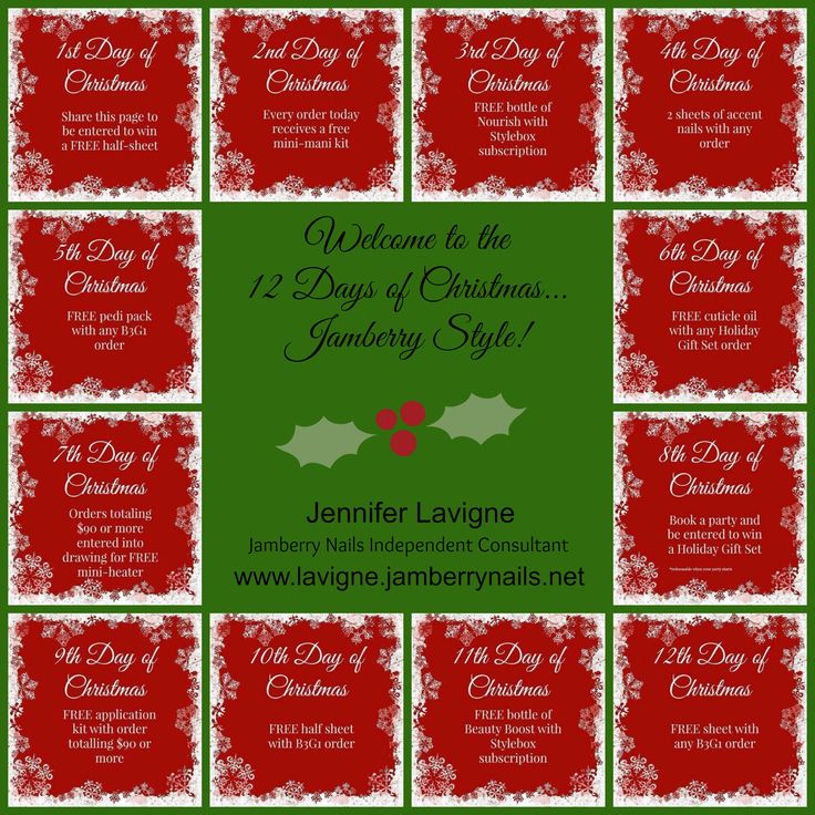 Check out my Jamberry's 12 Days of Christmas Contact me for further details www.lavigne.jamberrynails.net
