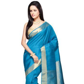 Dark Aqua Pure Kanchipuram Handloom Silk Saree with Blouse