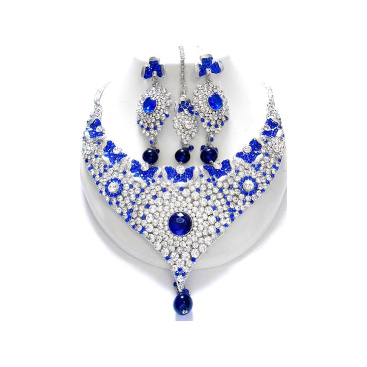 Blue Stoned CZ Jewelry Set. Available at http://skyfashionshop.com/indian-bridal-jewelry-set/114-coloured-stone-jewelry-set.html