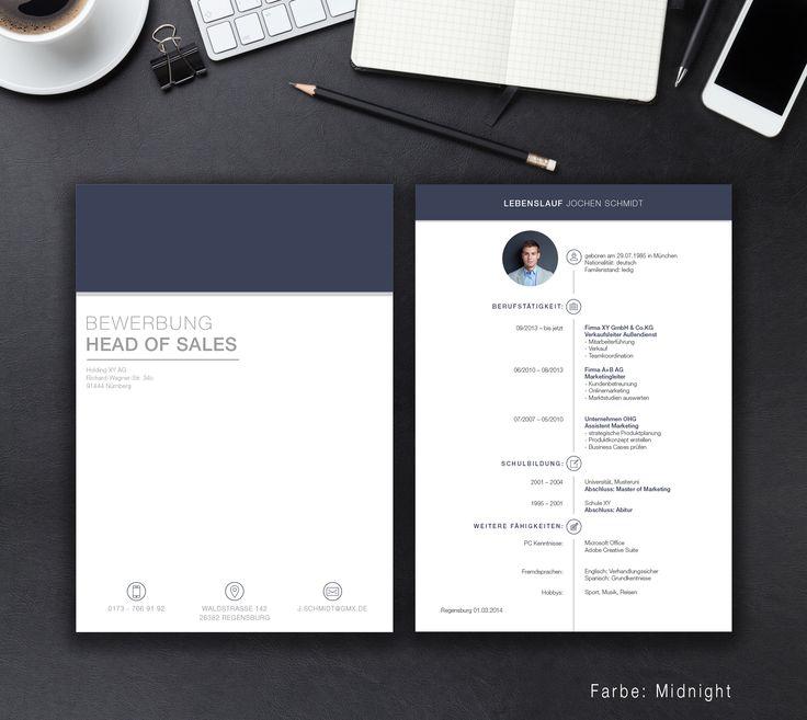 """Unsere Bewerbungsvorlage """"Office File"""" in der Farbe Midnight. Die Vorlage """"Office File"""" bringt Sie an die Pole Position. Lassen Sie mit dem klaren und einfachen Design alle anderen Mitbewerber hinter sich. Sie erhalten von uns ein Deckblatt, Anschreiben, Lebenslauf, Motivationsschreiben und eine Abschlussseite. Die Datei bekommen Sie als fertige Pages- oder Word-Datei inklusive Platzhaltertext mit Hinweisen."""