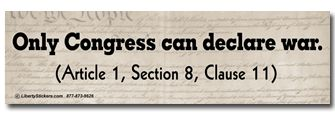 With Article I Section 8 Clause 11The legislative Branch is the only branch that can declare. Although the president makes an address to the country the president would have to ask congresses permission to declare war on another country.This establishes one of  Congresses powers that no one else can complete.