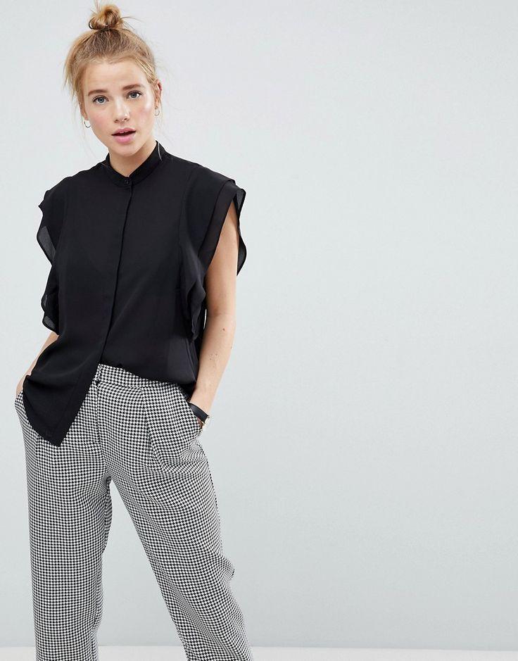 ASOS Blouse with Frill Shoulder - Black