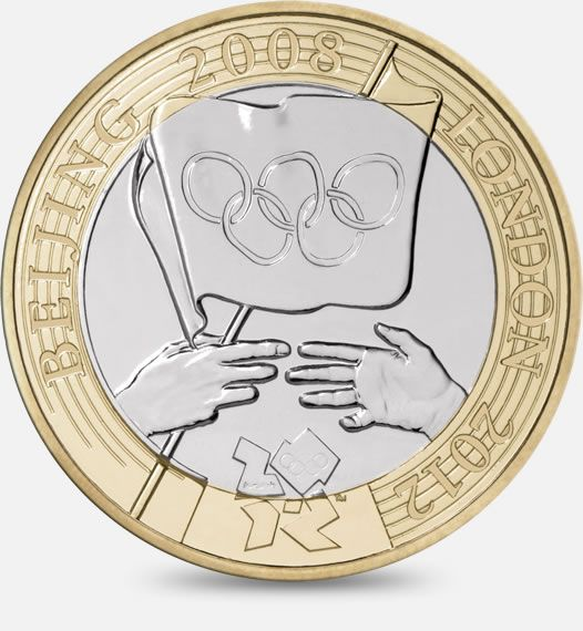 Olympic Handover Ceremony - 2008 Designed by The Royal Mint Engraving Team http://www.royalmint.com/discover/uk-coins/coin-design-and-specifications/two-pound-coin/2008-olympic-handover
