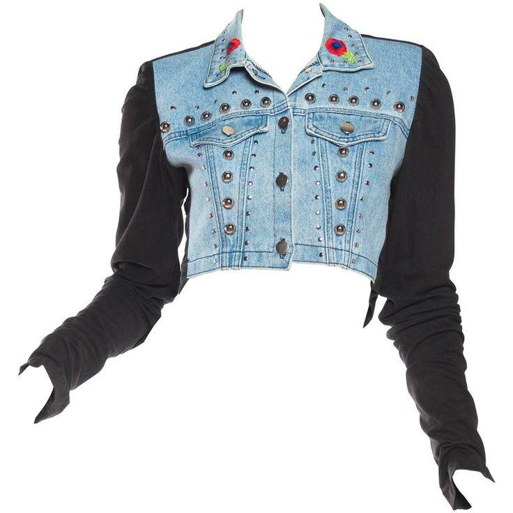 Studded Denim Jacket with Dramatic Embellished Back 1990