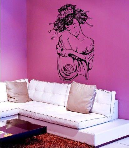 Vinilo decorativo Geisha. Bello y delicado diseño para este vinilo adhesivo. http://www.visualvinilo.net/vinilos-decorativos/vinilos-decorativos-etnico/